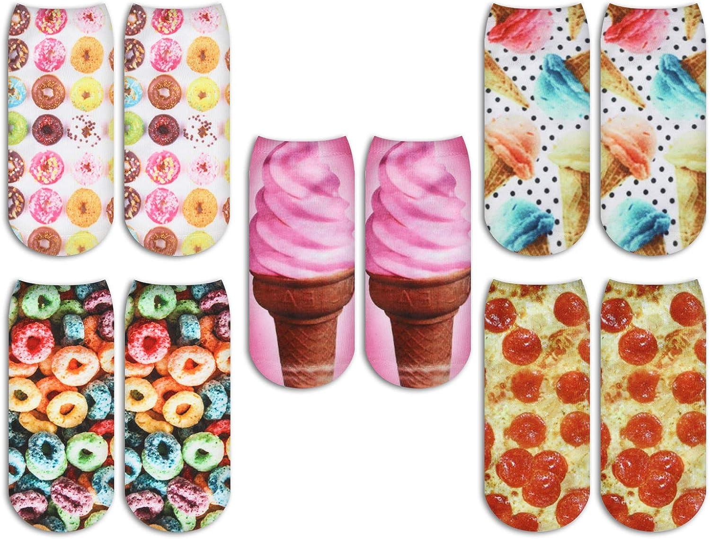 ZMART Women's Girl's Ankle Unicorn Socks, Colorful 3D Food Print No Show Low Cut Socks