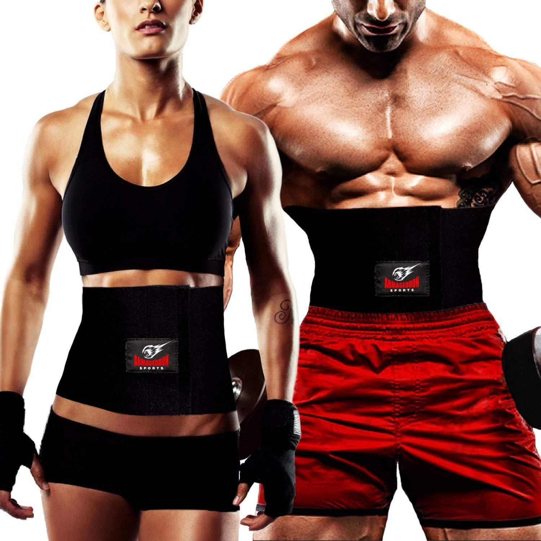Sweat Belt for Men and Women Weight Loss and Lower Back Posture Support Neoprene Sauna Slim Waist Band to Burn Abdominal Belly Fat Armageddon Sports Premium Waist Trimmer Belt