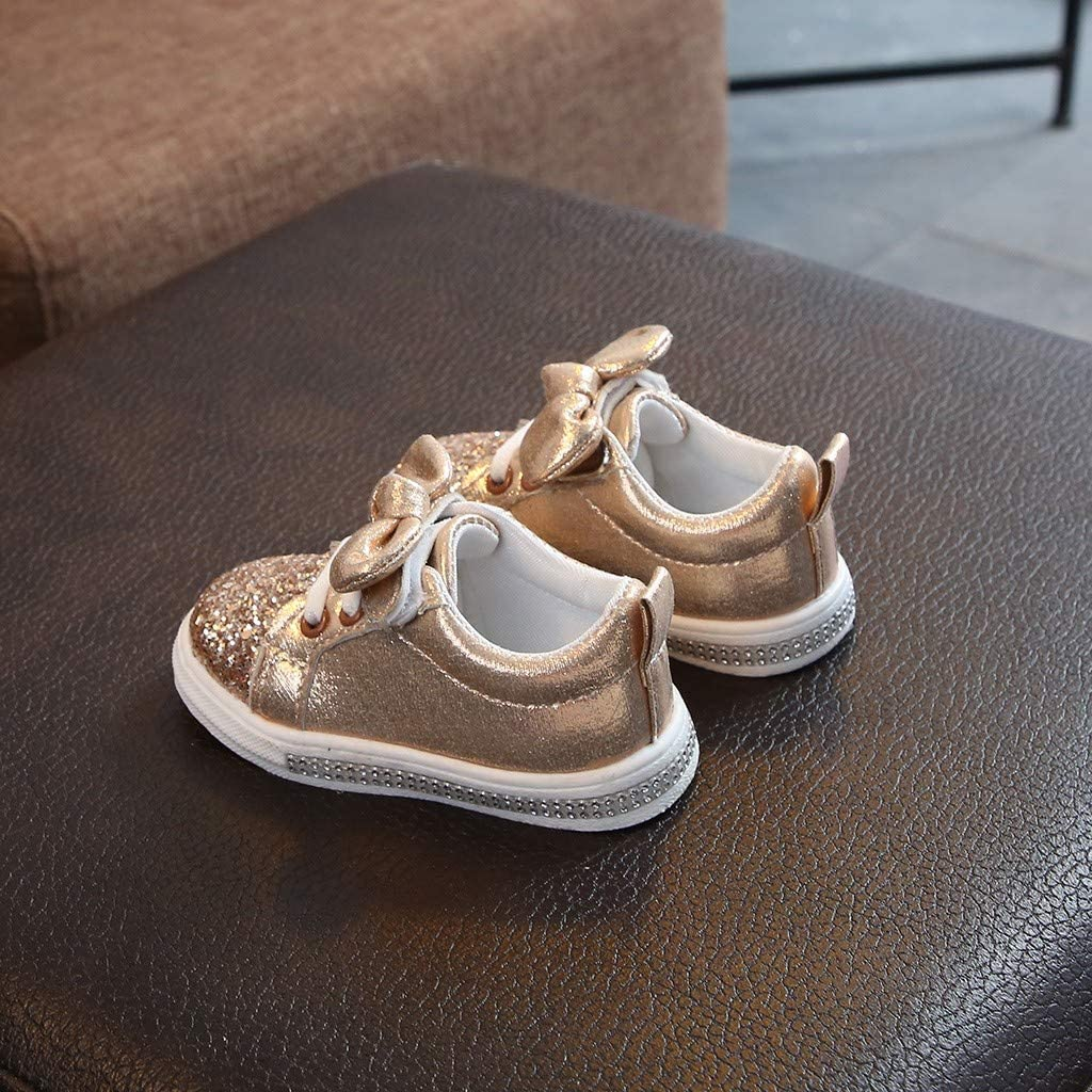 B/éb/é Filles B/éb/é Gar/çons Chaussures Enfants Toddler Bowknot Chaussures Paillette Baskets Premiers Pas Mixte b/éb/é EU 21-30 Rose Argent Or WINJIN Basket Enfant