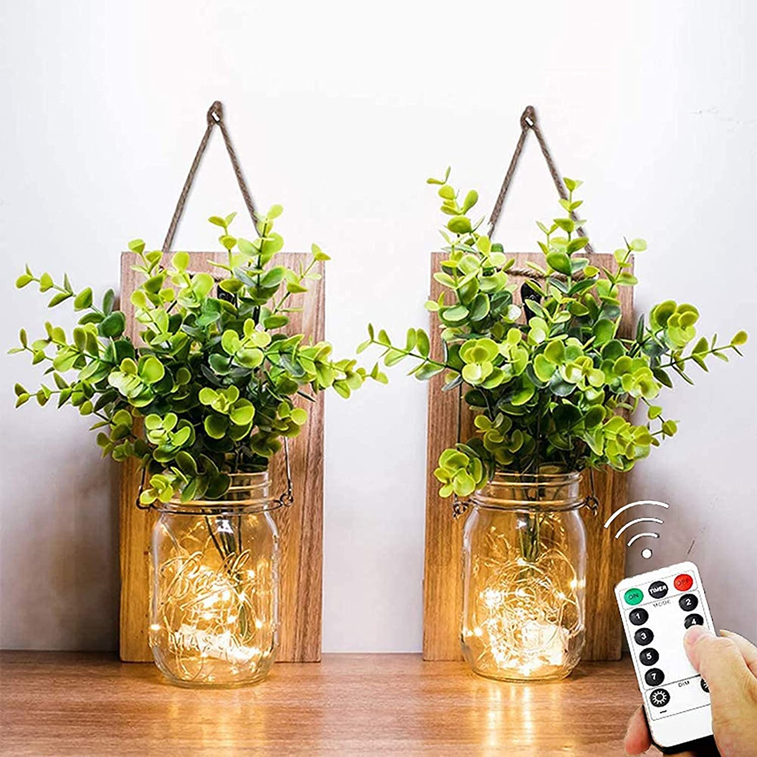 Mason Jar Lights, (Remote Control) Sconces Rustic Wall Decoration - Hanging lamp LED Fairy Lights with Green Plant for Interior, Home, Office, Kitchen, Bathroom Decor Living (Warm Light)(2PCS)