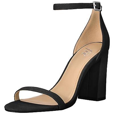 Amazon Brand - The Fix Women's Gracie Block Heel Strappy Sandal Heeled, Black Suede, 7 B US: Clothing