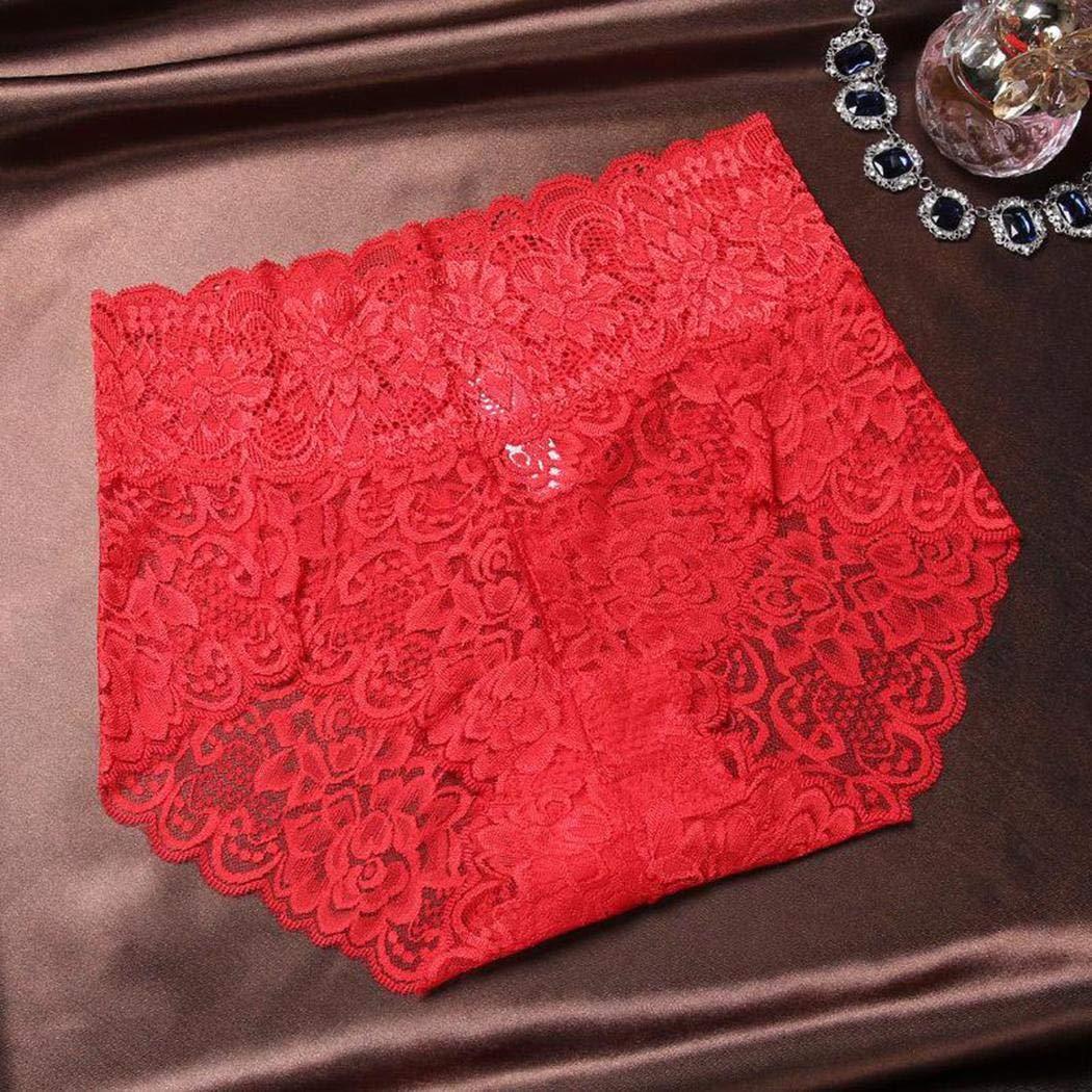 Asatr New Womens Floral Lace Sexy Comfortable Bikini Underwear Briefs Briefs Red