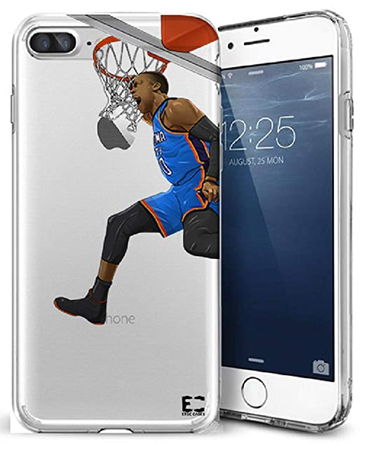 sports shoes b60d0 2ee2e iPhone6 Plus iPhone 7/iPhone 8 Plus Case Epic Cases Ultra Slim Thin Crystal  Clear Basketball Series Soft Transparent TPU Case Cover Apple - Russ The ...