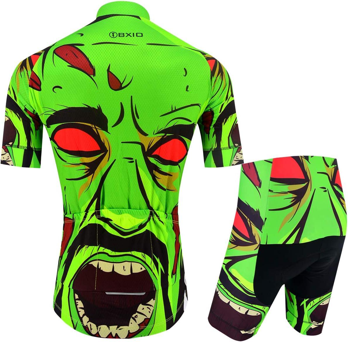 BXIO Camisetas de Ciclismo para Hombre Fluo Green Mangas Cortas y Pantalones Cortos Acolchados con Gel Trajes de Ciclismo Transpirables Ropa Ciclismo 204