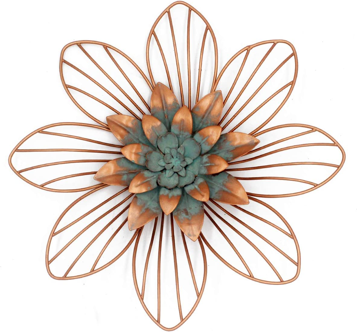 Metal Floral Wall Decoration Flower Wall Decor(Copper 11.75x1.2x11.75 inches)