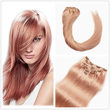 Alizee Rose Gold Blonde Dip Dye Clip In Hair Extensions 7pcs 120g