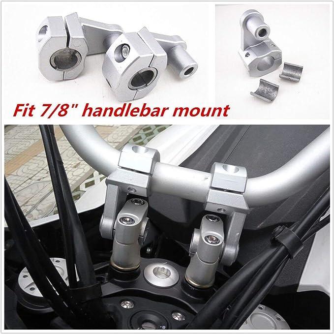 PJhao Universal 22mm 7//8Inch Lenker Riser Klemmen Silber f/ür Motorrad Schmutz Fahrrad ATV