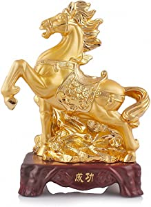 BOYULL Large Size Chinese Zodiac Horse Golden Resin Collectible Figurines Table Decor Statue