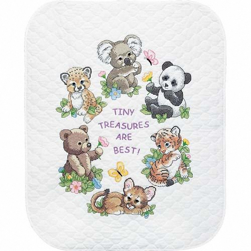 Dimensions Stamped Cross Stitch 'Tiny Treasures' DIY Baby Quilt Kit, 34'' x 43'' by Dimensions