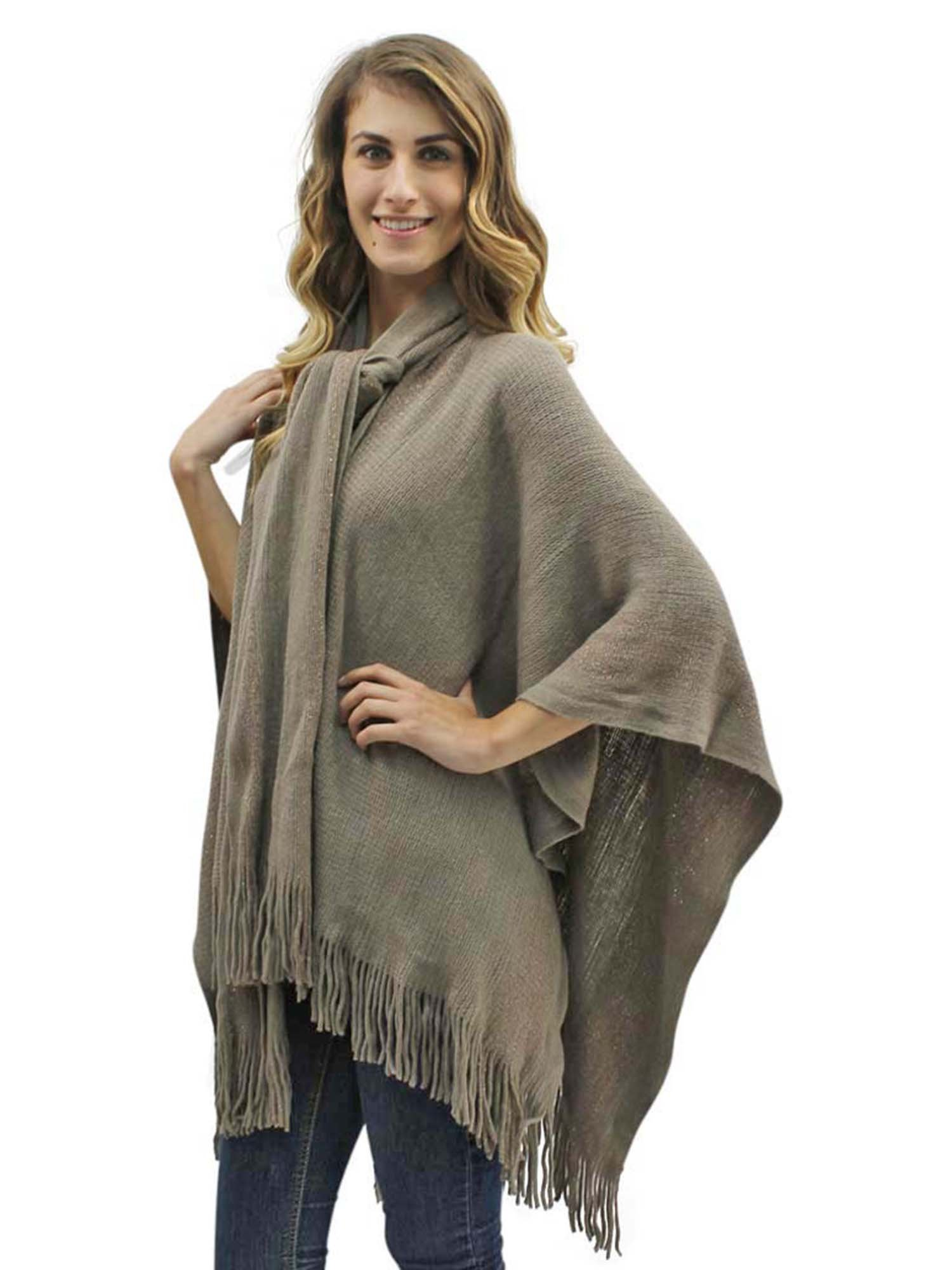 Taupe Two-Tone Fringed Shawl With Attached Scarf