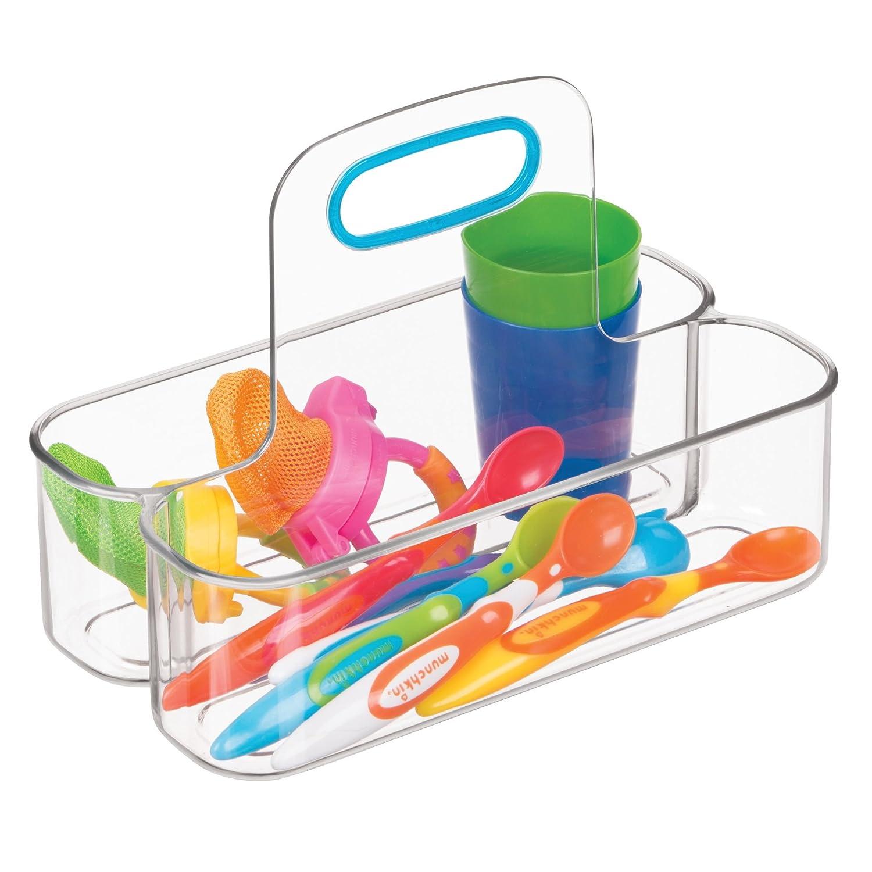 InterDesign IDjr Caja con asa con 2 divisiones, organizador de plástico pequeño para alimento de bebés y artículos de baño, transparente/verde azulado: ...