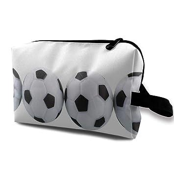 e5bb1ac2d527 Amazon.com : Makeup Bag White Soccer Balls Portable Travel ...