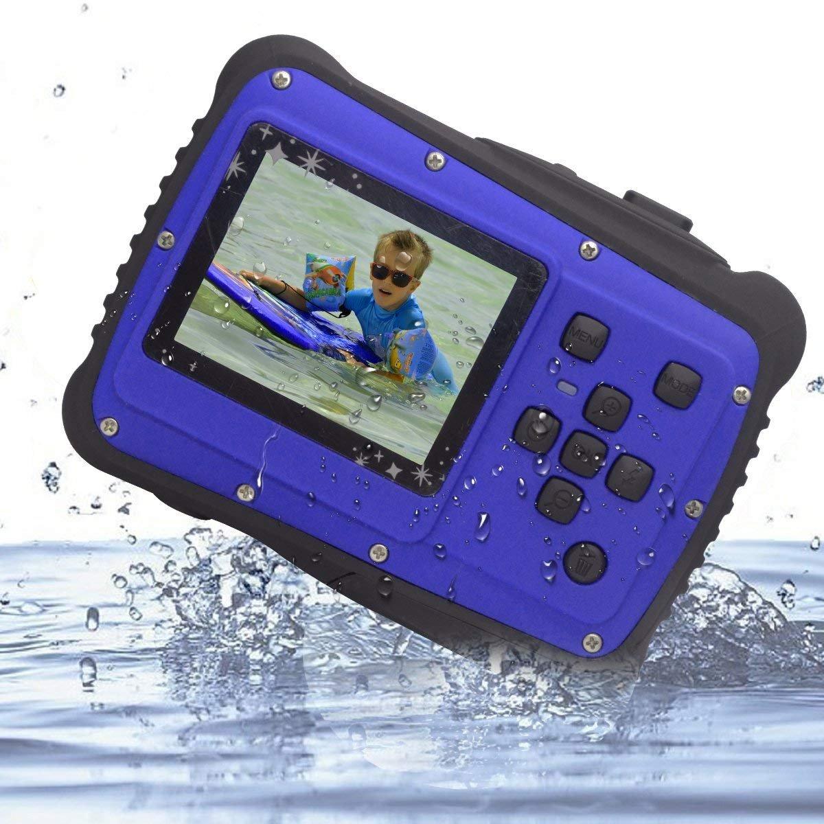 Waterproof Digital Camera for Kids, Vmotal Waterproof Camera for Kids with 2.0 Inch LCD Display, 8x Digital Zoom, Flash For Children Boys Girls Gift Toys (Blue)