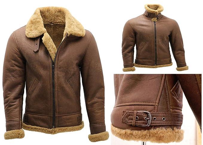 Brown Ww2 B3 Bomber Leather Jacket Men S Sheepskin Cafe Real