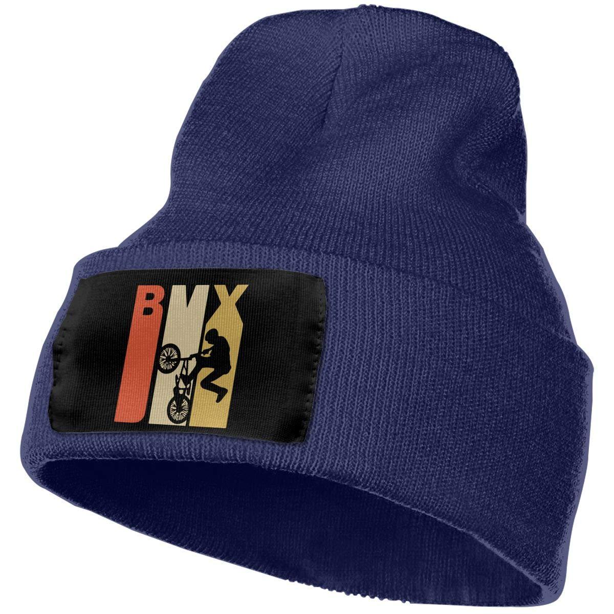 Men /& Women Retro 1970s Style BMX Silhouette Outdoor Stretch Knit Beanies Hat Soft Winter Skull Caps