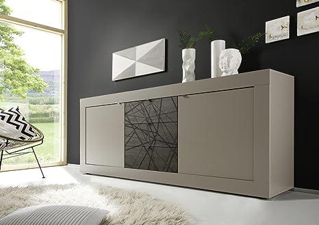Credenza Moderna Marrone : Madia moderna ante e cassetti in legno bicolore beige opaco