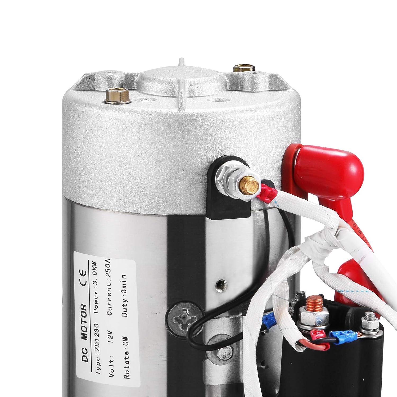 Double, 4L SucceBuy 12V DC Pompe Hydraulique avec Grand R/éservoir en Double Effet pour Ascenseur Automatique Remorque De D/échargement
