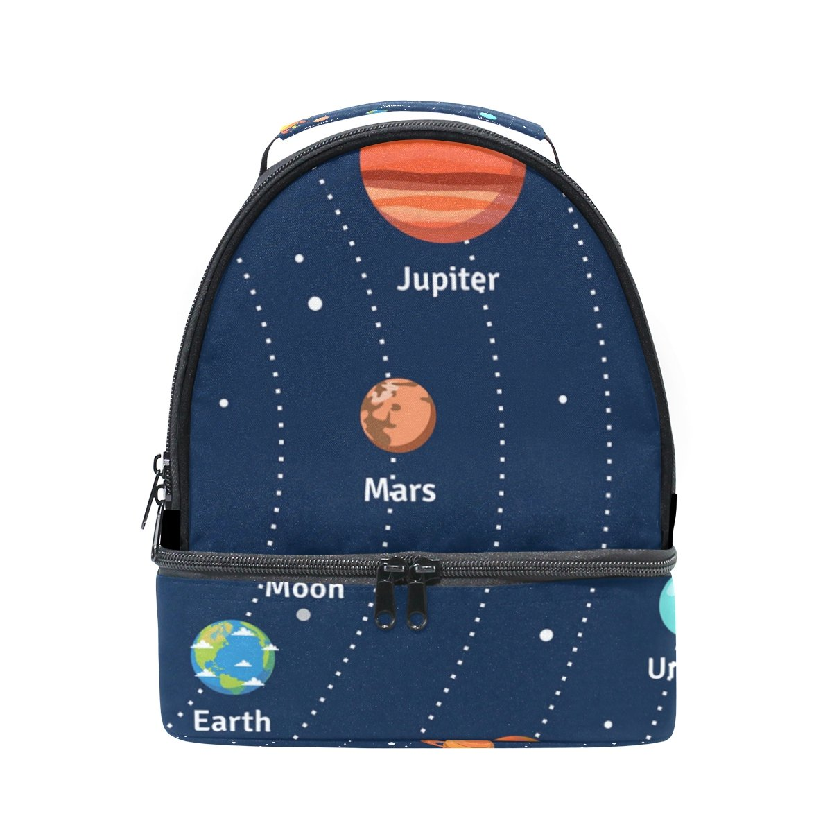 LORVIES Educational Solar System Orbits And Planets Lunch Bag Dual Deck Insulated Lunch Cooler Tote Bag Adjustable Strap Handle for Women Men Teens Boys Girls