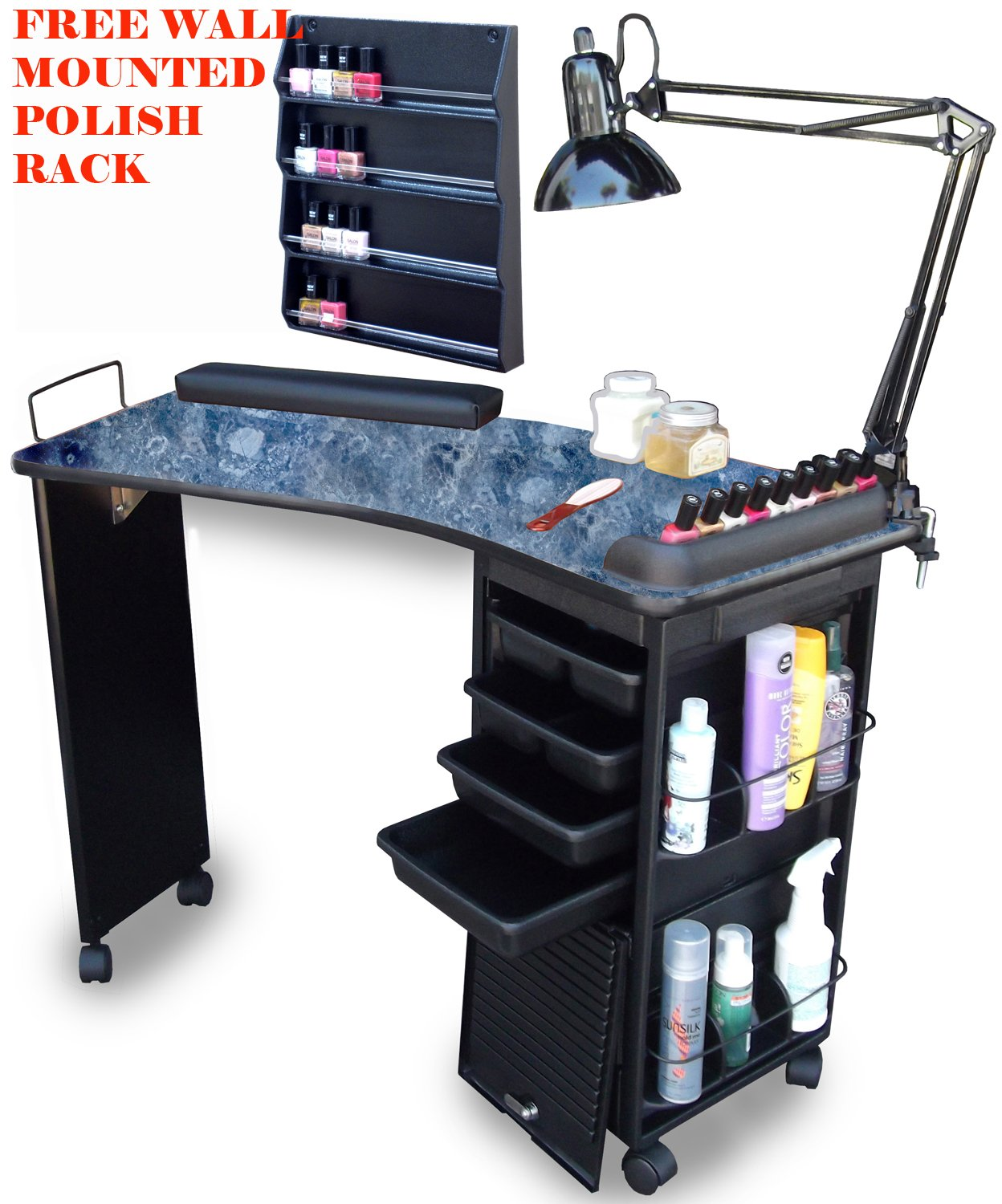 M600-FPR Manicure Nail Table Black Marble lam. Top W/FREE POLISH RACK