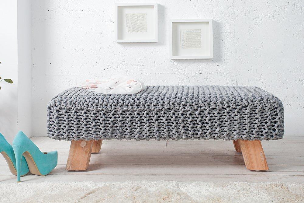 Design Pouf Hockerbank LEEDS aus Strick grau 100cm mit Holzfüßen ...