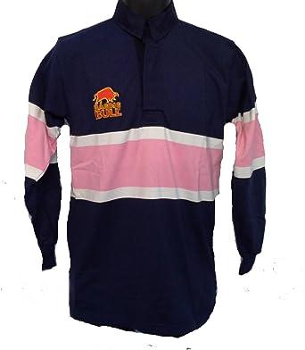 Para hombre toro salvaje rayas Rugby camiseta Azul marino y rosa ...