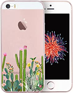 Unov Case for iPhone SE (2016) iPhone 5s iPhone 5 Clear with Design Embossed Pattern TPU Soft Bumper Shock Absorption Slim Protective Back Cover 4 Inch (Cactus Succulents)