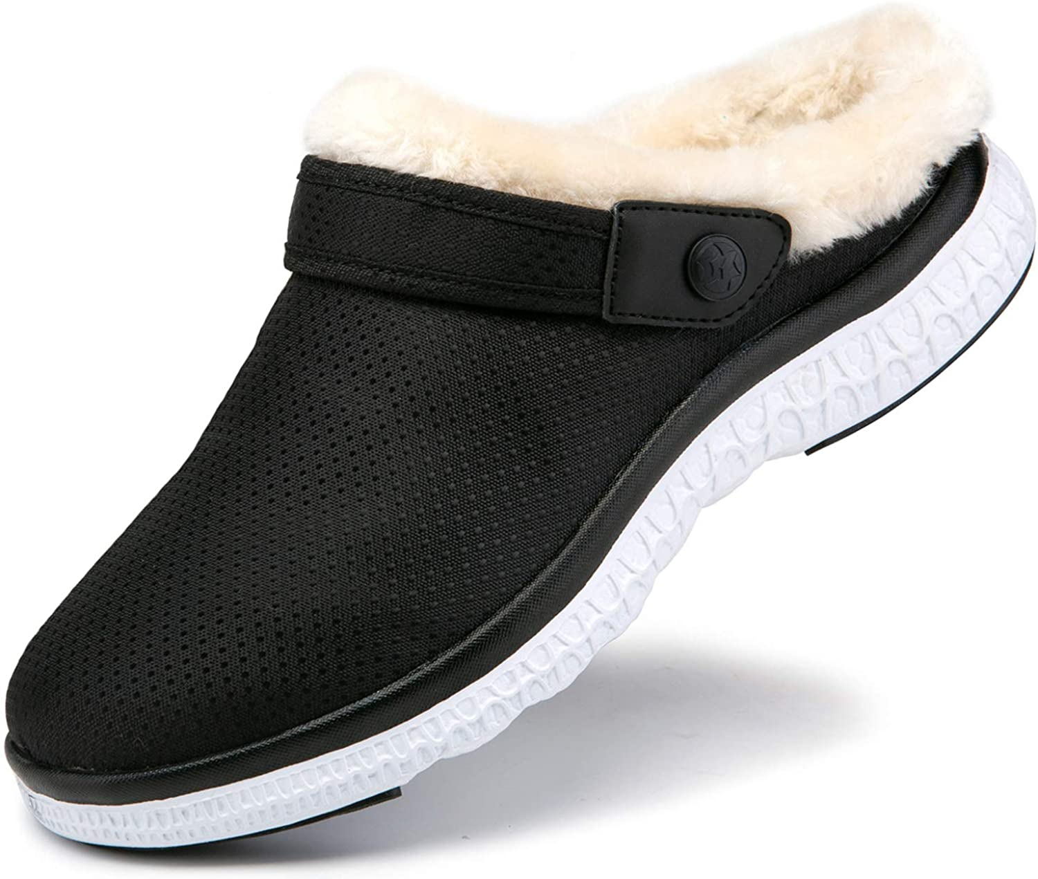 Womens Mens Lined Clogs Winter Slippers Home House Shoes Warm Plush Fleece Lining Garden Shoes Indoor Outdoor Mules