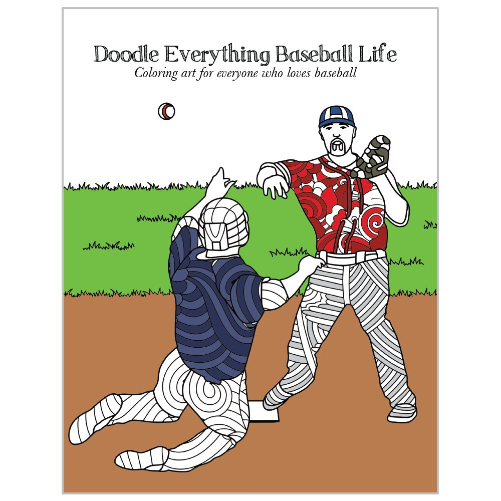 DB13816 Stress Relief and Relaxation for Grown Ups and Kids Everything Baseball Tree-Free Greetings Adult Coloring Book: Sports