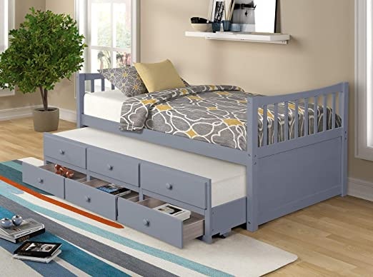 Amazon.com: Twin Captain's Bed Storage daybed with Trundle and Drawers for Kids Guests (Grey): Kitchen & Dining