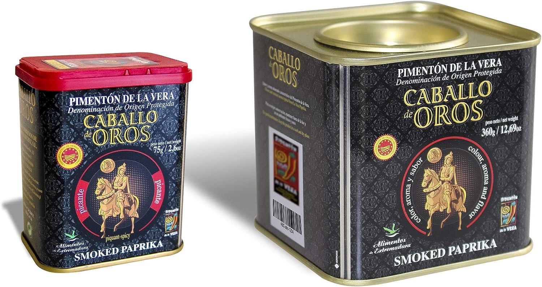 Caballo de Oros.-Pimenton ahumado de la Vera dulce en lata de 360 gr. y picante en lata de 75gr. D.O.P.