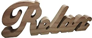 TAIANLE.Free Standing Relax Wooden Letter Table Sign,Rustic Vintage Distressed Wooden Words Sign,Natural Color,Tabletop/Shelf/Home Wall/Office Decoration Art, 12 x 4-1/4x 1T inch