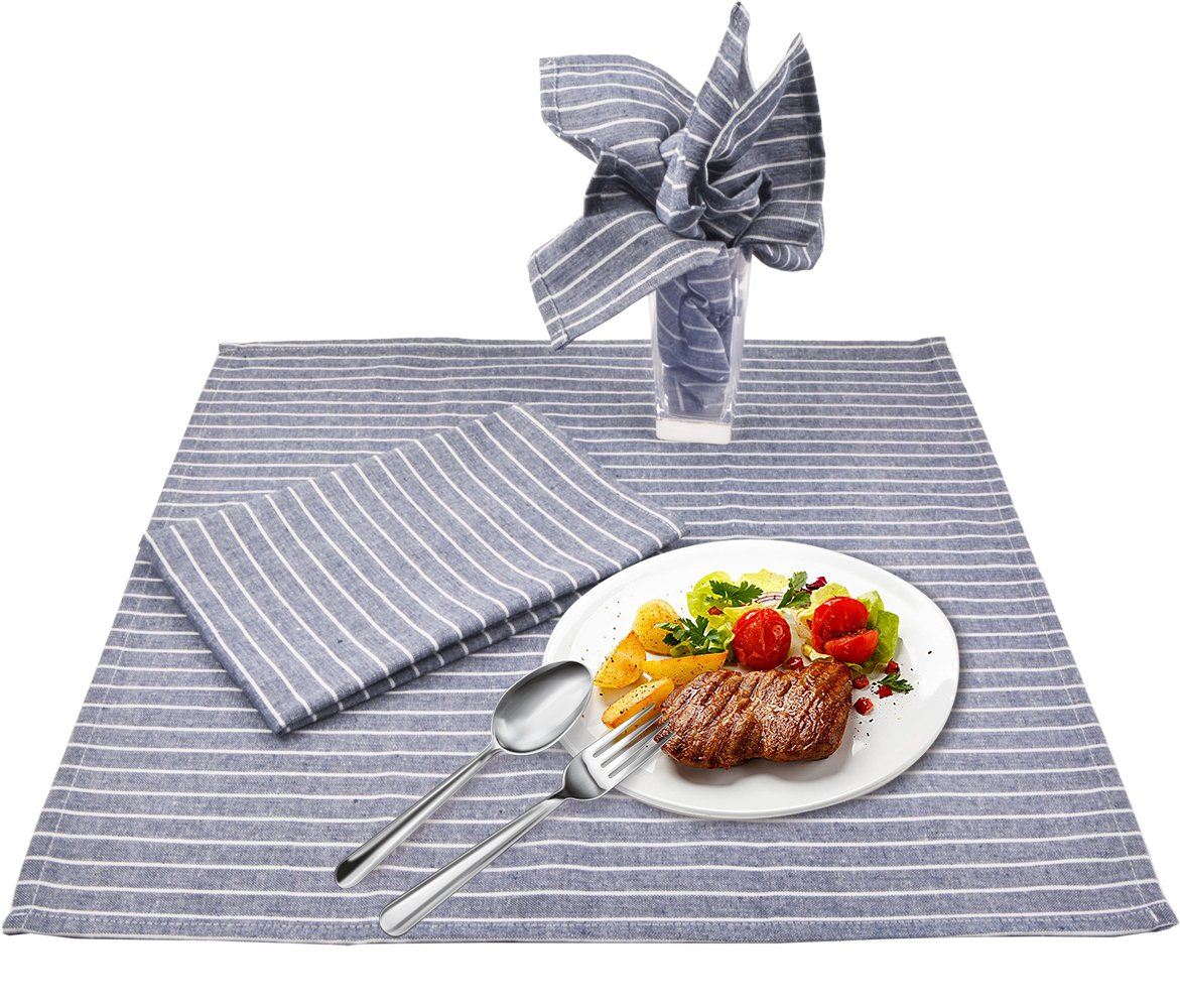 Sinland Linen Napkins Oversized Dinner Napkins Tailored with Mitered Corners and a Generous Hem 20Inch x 20Inch 6 Packs (Grey Blue) by Sinland (Image #2)