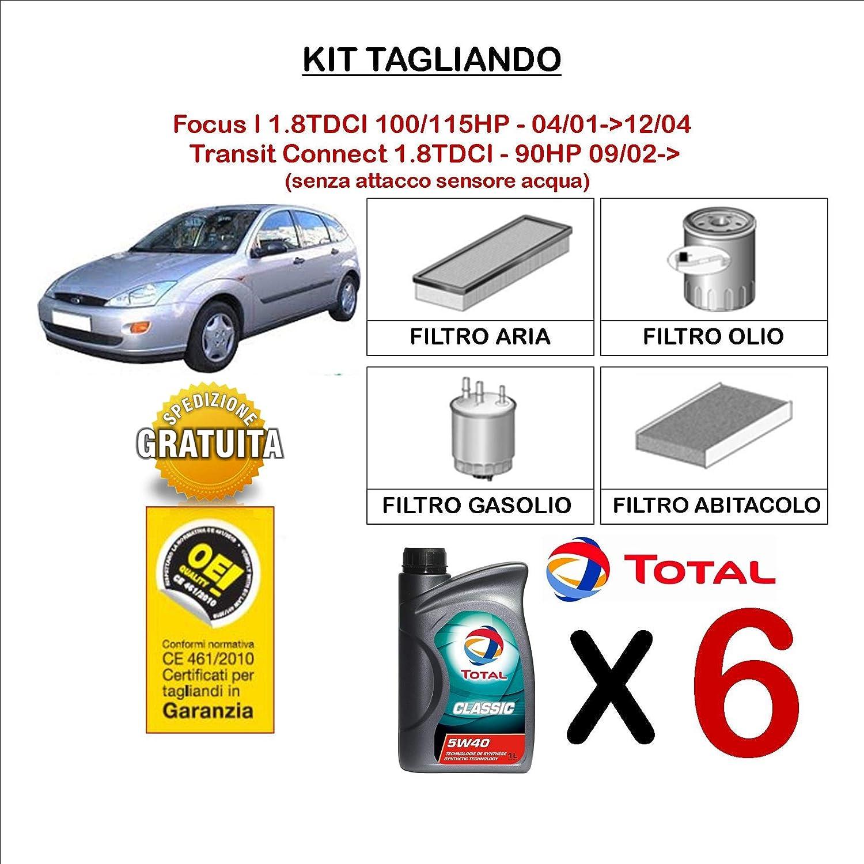 KIT TAGLIANDO 6 LT OLIO TOTAL CLASSIC 5W40 + 4 FILTRI TECNECO CODICE FO5S