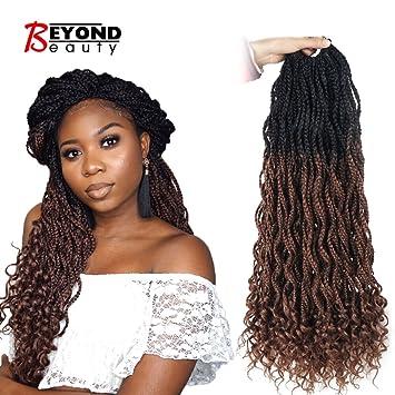 Goddess Box Braids Crochet Braids Hair with Curly ends Synthetic Kanekalon  Fiber Braiding Hair 24 Inch 6 Packs/lot(1B,30)