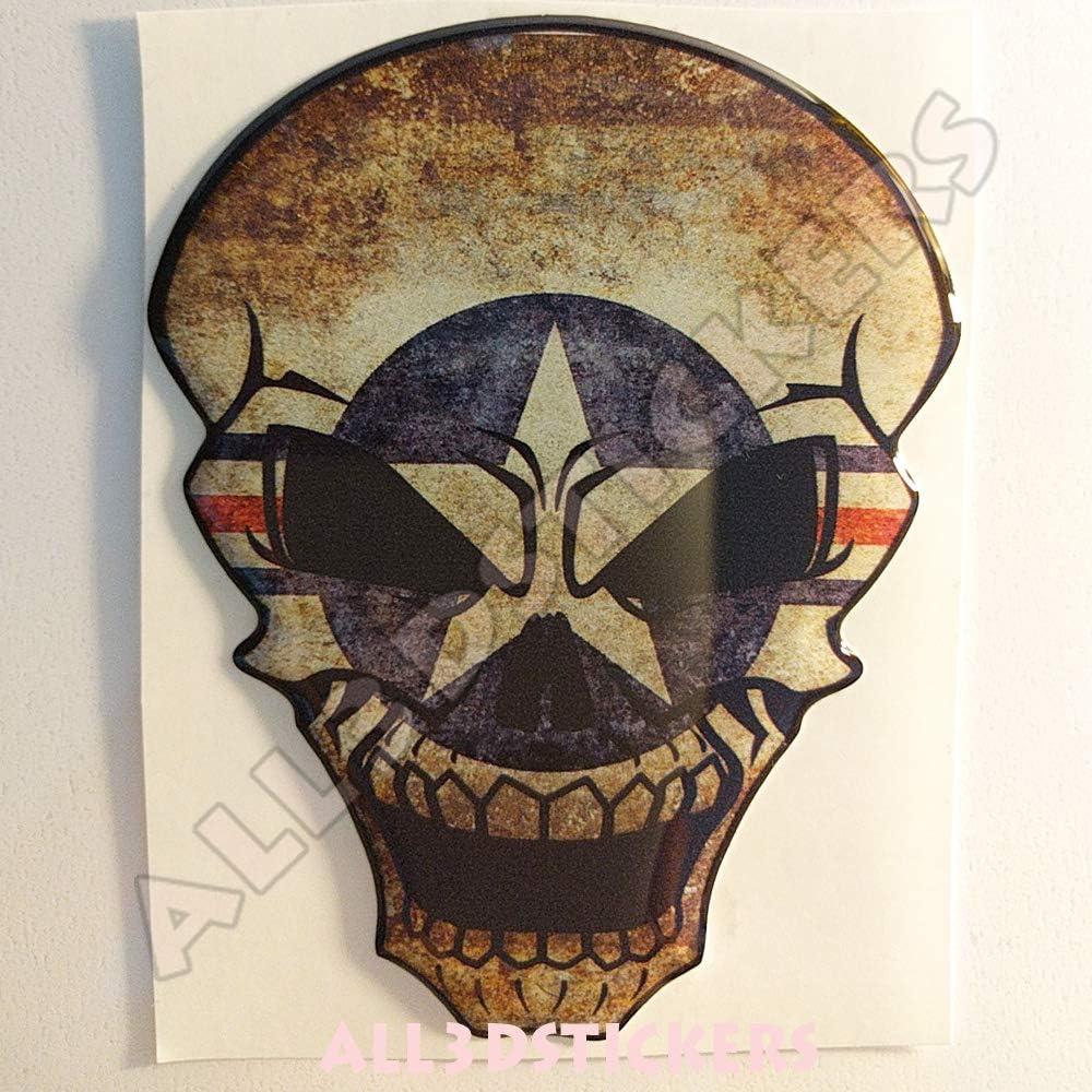 Pegatina USA Calavera Bandera Estados Unidos EEUU Escarapela Resina Relieve 3D Adhesivo Vinilo Skull: Amazon.es: Coche y moto