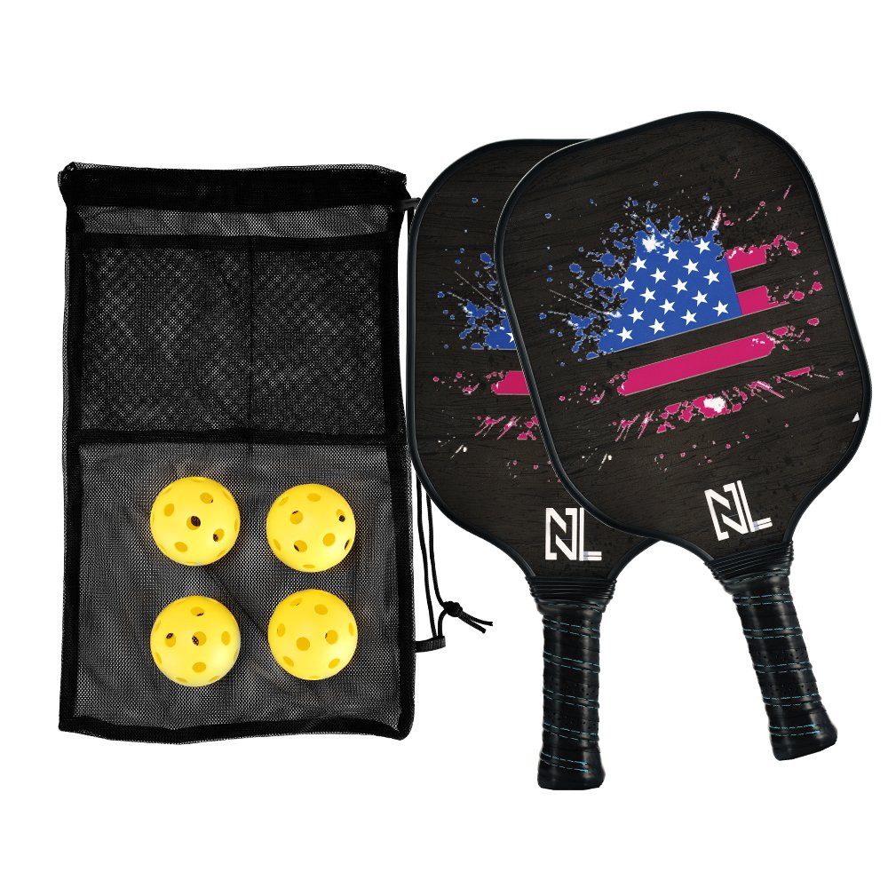 A&L Pickleball Paddle | Pickleball Paddle set,Graphite Pickleball Racket Polypro Honeycomb Composite Core Included 2 pickleball Paddles and 4 pickleball Balls.(2 paddles set)