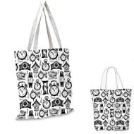Clock portable shopping bag Hand Drawn Clocks and Watches Illustration  Vintage Design Monochrome Pattern shopping bag 1eb6cb2927997