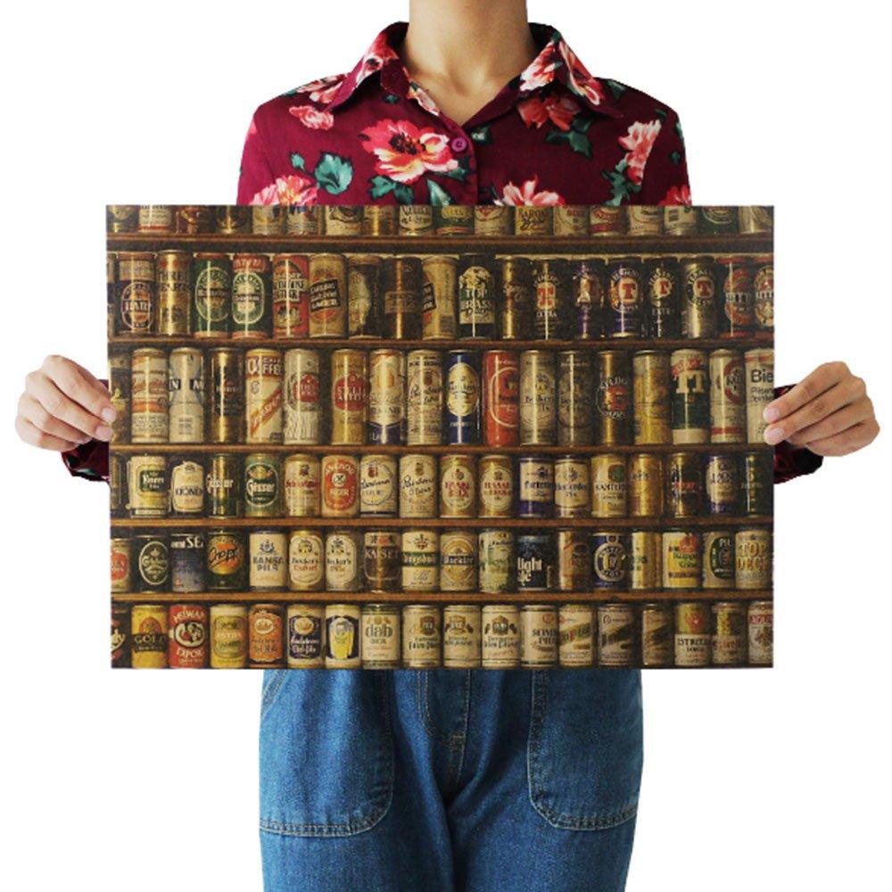 Auntwhale Deco Space Vintage R/étro Kraft Papier Affiche Vari/ét/és de bi/ère Creative sans Cadre int/érieur Art Mural 51,5 X 36 cm X 0,2 CM 4