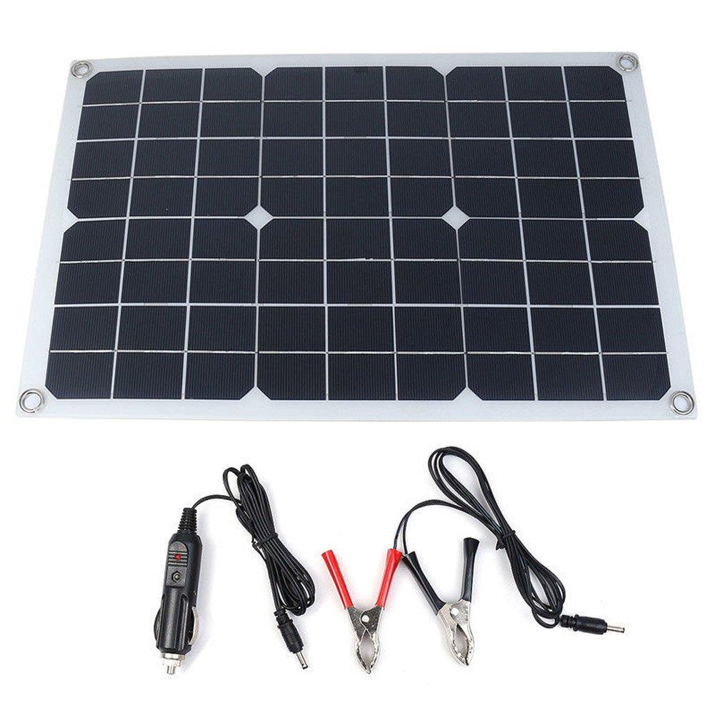Carremark - Pannello Solare USB per Batteria, Impermeabile, 20 W, per Caricabatterie da Auto e Illuminazione del Telefono