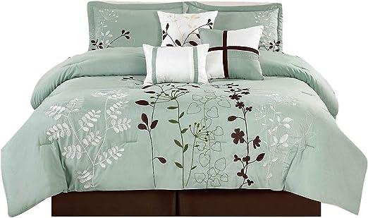 8 pcs Faux Silk Bella Comforter set Black Full Size Grey and White Striped