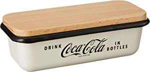 """TableCraft's Coca-Cola Enamel Butter Dish with Lid 6.5 x 3 x 2.25"""", White"""