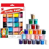 TBC The Best Crafts 24 Colors Acrylic Paint Jar Set, Vibrant Colors Acrylic Paint Set, Educational Grade Arts and Crafts Supp