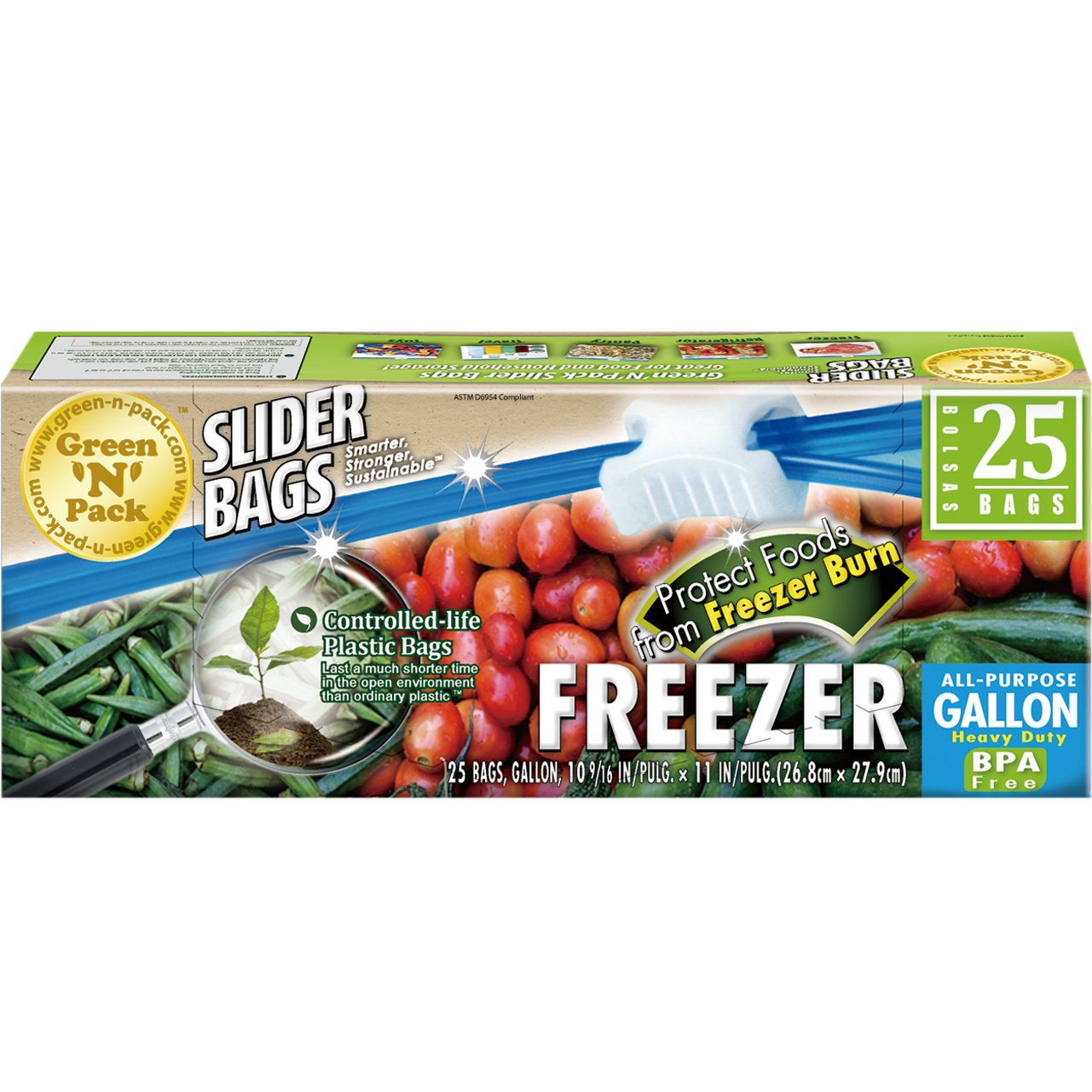 Green'N'Pack 25 Count BPA Free Premium Freezer Slider Bags, 1 Gallon