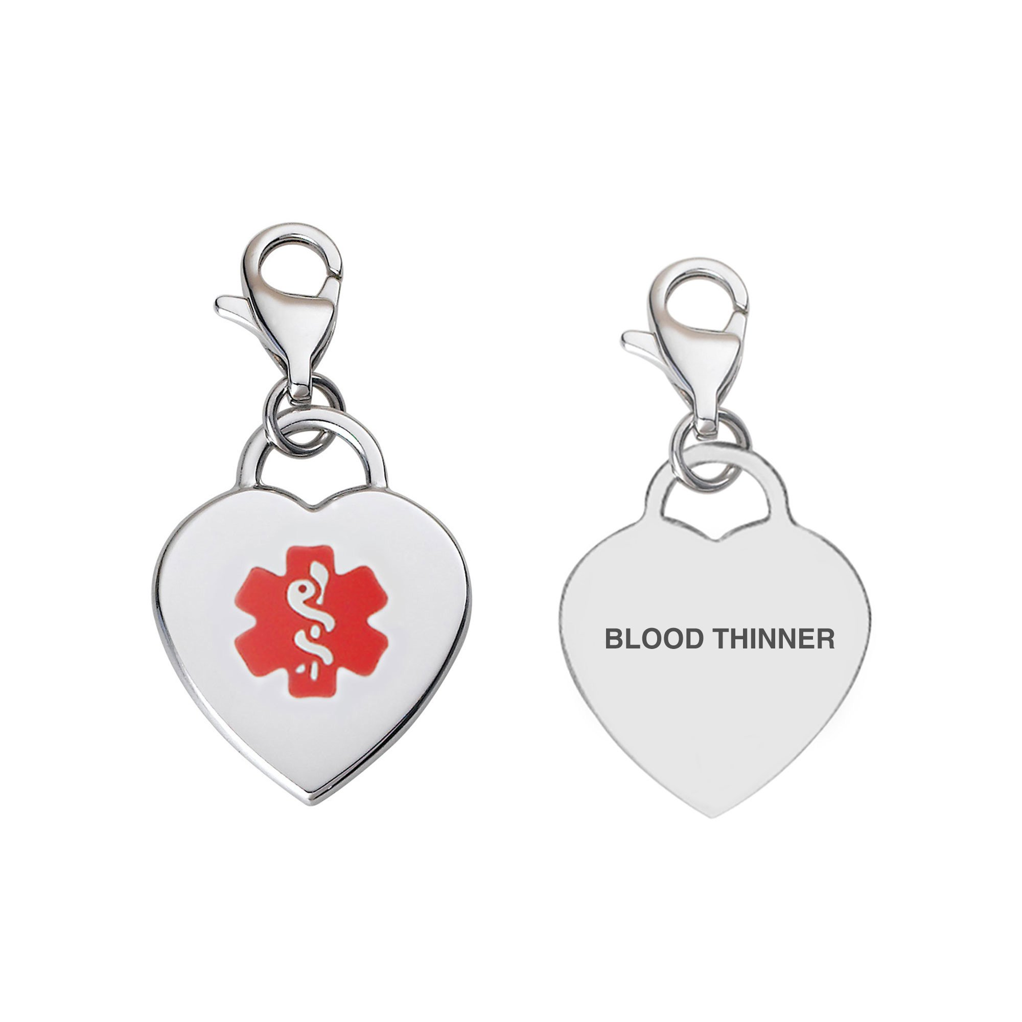 Divoti Pre-Engraved BLOOD THINNER Adorable Heart 316L Medical Alert Charm w/Lobster Clasp-Red