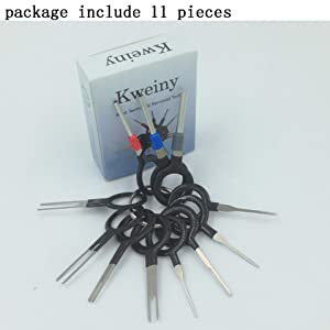 kweiny Auto Terminals Removal Key Tool Set   Car Electrical Wiring Crimp Connector Extractor Puller Release Pin Kit (11 Pieces) (Color: Silver, Tamaño: 11 pieces)