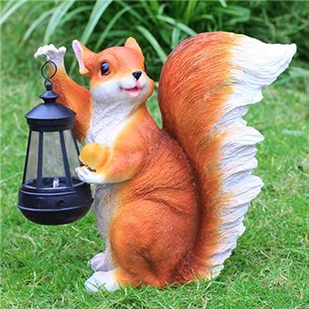 Pet Escultura Simulada De Animales Adornos De FRP Ardilla De Exterior con Luz Solar. Adorno De Hierba De Jardín 27x15x27cm: Amazon.es: Hogar