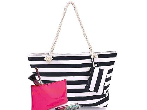 Bolsa de Playa Grande Mujer de Tela con Cremallera 50 x 35 x 15 Marinero + Monedero a juego + Regalo Neceser Rosa PVC Impermeable