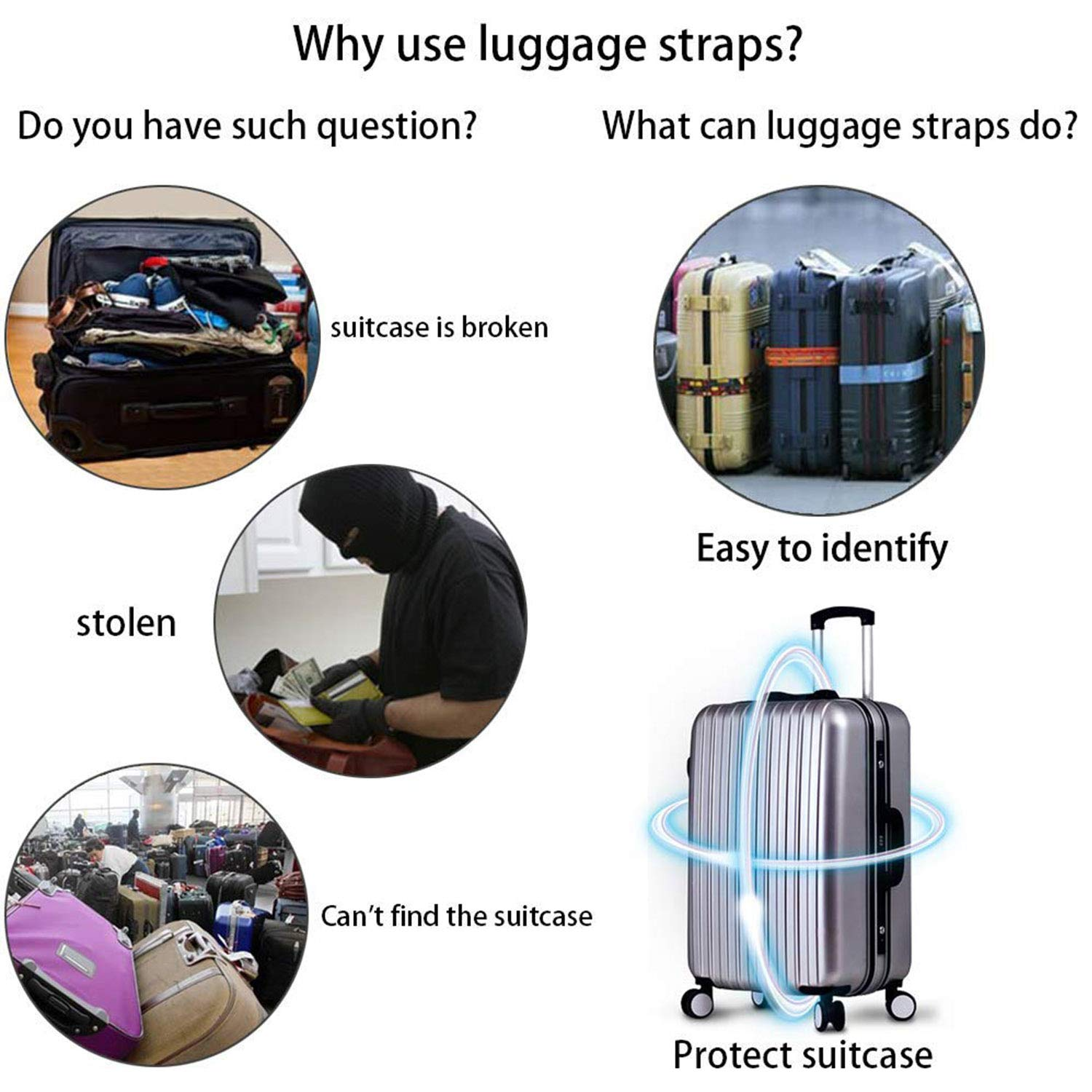 Turquoise Ocean Jellyfish,Adjustable Luggage Straps 3-Dial TSA Combination Lock Travel Accessories Bag Straps GLORY ART 1 PC Suitcase Belts