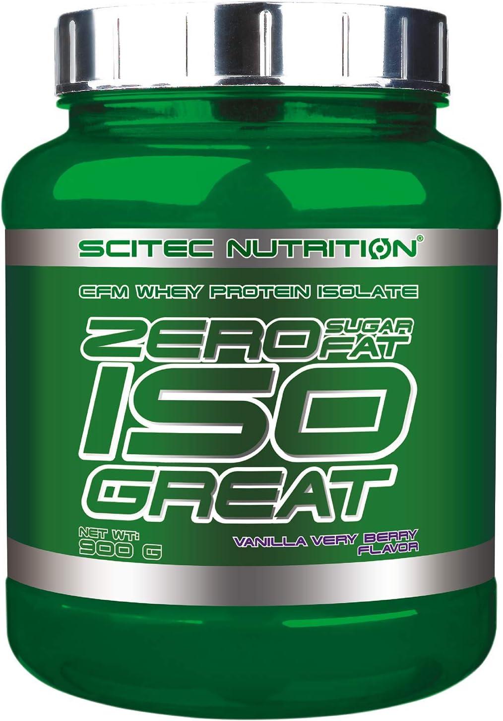 Scitec Nutrition Zero Isogreat, zero sugar/zero fat, aislado de proteína de suero, 900 g, Vainilla con frutas del bosque
