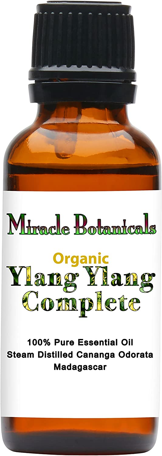Miracle Botanicals Organic Ylang Ylang Complete Essential Oil - 100% Pure Cananga Odorata - Therapeutic Grade - 30ml/1oz.